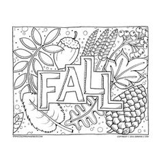 Fall Coloring Page Full Of Leaves And Other Autumn Themed Items To Color This Is