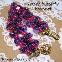 free seed bead bracelet  patterns | bracelet in pink and purple AB seed beads (pattern by Jaycee Patterns ...