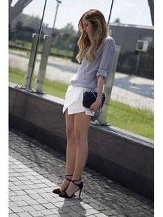 White Skorts With Asymetric Hem | Choies