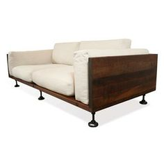 Andrew Industrial Reclaimed Wood Cast Iron Sofa #Kathykuohome