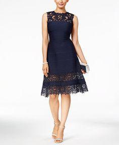 Tadashi Shoji Illusion Lace A-Line Dress