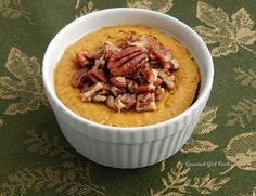 Gourmet Girl Cooks: Rich & Creamy Pumpkin Custard Cups 4 ounces brick style cream cheese, softened 1 15-ounce can 100% pure pumpkin puree 3/4 cup Swerve Sweetener Confectioner's Style (or powdered erythritol equivalent to 3/4 cup sugar) 1/4 teaspoon salt 1 teaspoon ground cinnamon 1/2 teaspoon ground ginger 1/4 teaspoon ground cloves 1/2 teaspoon natural maple extract 2 large eggs 1 cup heavy cream