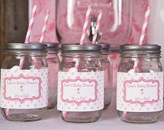 Ballerina Party Wasserflasche Etiketten - Ballerina Baby-Dusche-Dekorationen in heißen & leicht rosa (12)