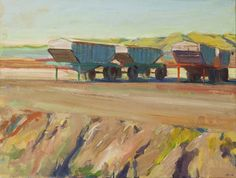 """Boyd Gavin, """"Parked Hoppers"""", oil on canvas Oil On Canvas, Cityscapes, Park, Landscapes, Paintings, Image, Frames, Paisajes, Scenery"""