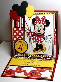 Kreative Korner By Kelly: Birthday Cards For Friends and Family Disney Birthday Card, Girl Birthday Cards, Birthday Cards For Friends, Handmade Birthday Cards, Birthday Kids, Disney Scrapbook, Scrapbook Cards, Kids Cards, Baby Cards