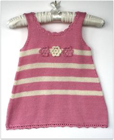 Girls knit dress Pink and cream Summer dress by Leiladelle on Etsy, £25.50