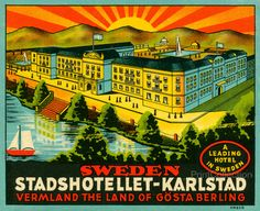 Luggage Label from the Vermland the Land of Gosta Berling. A leading Hotel in Sweden. Still in business here. From their website: The Elite Stadshotellet Karlstad is one of the country's most beautifu