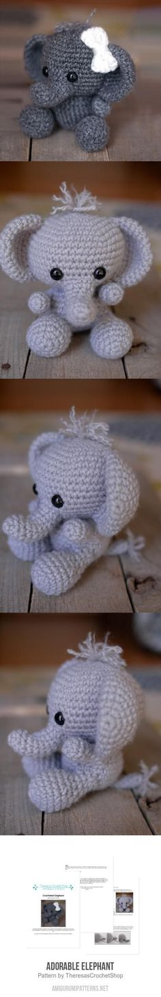 This elephant is so adorable! would be prefect if crown can be added | Adorable Elephant via Amigurumi Pattern