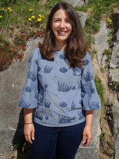 Marilla's Mathilde blouse in hand-printed chambray