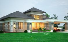 Elegant sloping roof bungalow design 2990 sq-ft (Kerala home design) Small House Floor Plans, Simple House Plans, Beautiful House Plans, Double Storey House Plans, One Storey House, Bungalow House Design, Modern House Design, Roof Design, Exterior Design