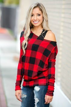 6be16607b7ecc Easy to Love Black Red Plaid Off Shoulder Top Shop Simply Me Boutique SMB –  Simply