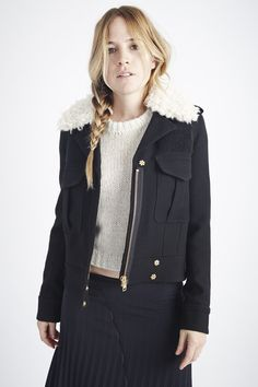 Watch Jacket with Detachable Faux Shearling Collar