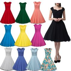 11 Color Vintage Retro Swing 50s 60s Housewife Rockabilly Pinup Party Prom dress in Clothing, Shoes & Accessories, Women's Clothing, Dresses | eBay