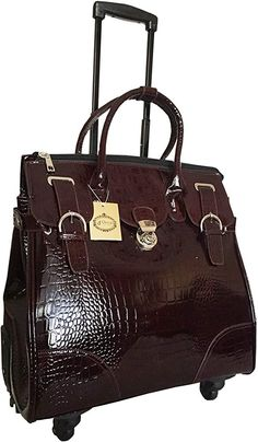 Amazon.com: Trendy Flyer Computer/laptop Large Bag Tote Duffel Rolling 4 Wheel Spinner Luggage Brown Croc: Clothing Computer Bags, Laptop Computers, Tote With Wheels, Rolling Laptop Bag, Laptop Messenger Bags, Laptop Bags, Leather Laptop Bag, Leather Bag, Laptop Bag For Women