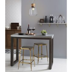Gather stylishly. Whether you use your dining room every day, or only on holidays, our modern dining tables make it easy to create a space that's chic and family-friendly. Counter Height Table, Wood Counter, Counter Stools, Gold Bar Stools, Gold Stool, Top Paint Colors, Bar Tray, Wall Mounted Shelves, Shelf