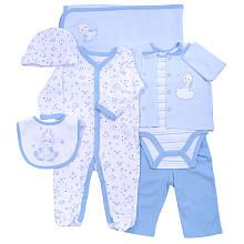 Sterling Baby 7 Piece Blue Giraffe and Allover Star Footie with Top, Pant, Striped Bodysuit, Hat, Blanket and Bib Set