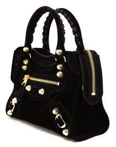#Balenciaga Mini City #Bag in Black Suede http://raindropsofsapphire.com/2014/01/03/balenciaga-baby-daim-giant-black-suede-mini-city/