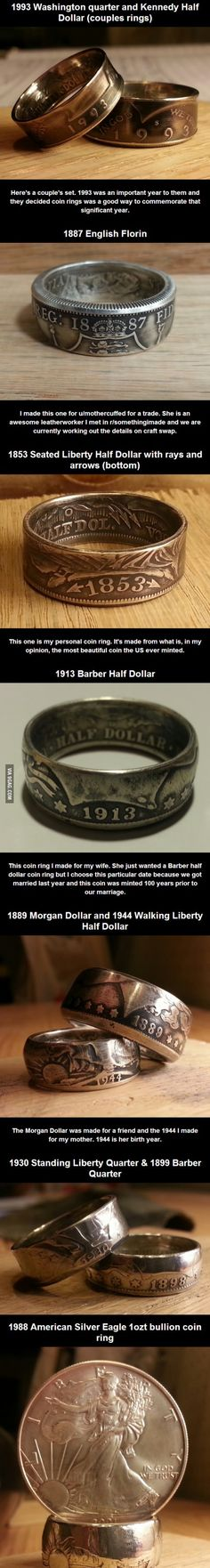 Handmade coin rings...I need these.