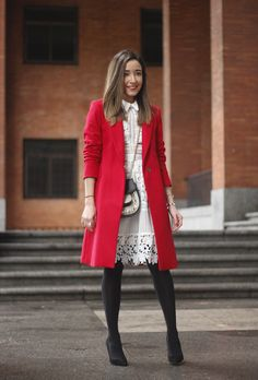 White Lace Dress With Red Coat | BeSugarandSpice - Fashion Blog