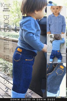 Knit Baby Jeans & Jacket free pattern links: DiaryofaCreativeFanatic