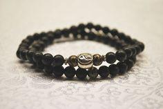 Black Silk Jasper beaded wrap bracelet by BrigidsCrossing on Etsy, $25.00