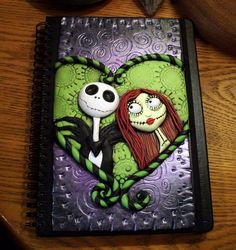 Polymer clay journal cover featuring Jack and Sally!