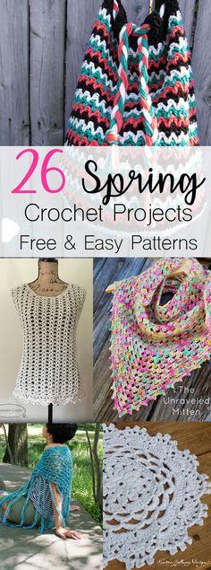 Crochet Spring Patterns | Free Easy Crochet Patterns for Spring | Crochet Bag | Crochet Easter | Crochet Tops | Crochet Home Decor | Cotton Yarn