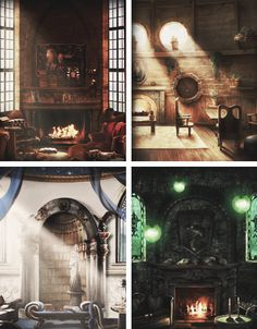 The Gryffindor, Hufflepuff, Ravenclaw + Slytherin Common Rooms