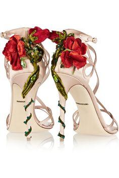 Dolce & Gabbana|Embellished satin sandals|NET-A-PORTER.COM