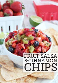 Fresh fruit salsa pairs perfectly with delicious homemade cinnamon chips. This easy recipe is a refreshing treat that's perfect as an after-school snack!