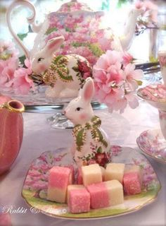 Coconut ice and all things nice, featuring beautiful Royal Albert 'Blossom Time' with vintage pink and fine bone china. Rabbit and Rose xx {Love this gorgeous Easter tablescape! Hoppy Easter, Easter Bunny, Easter Eggs, Easter Food, Pause Café, Easter Table, Easter Decor, Easter Ideas, Easter Centerpiece