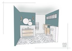 Renovation of a bathroom with cement tiles on the floor. A canopy was created at the top to bring light. Paint farrow & ball on the walls to contrast with the white subway tile.fr Source by Contemporary Bathroom Designs, Modern Bathroom Decor, Small Basement Bathroom, Bathroom Bath, Bath Tub, Washroom, Interior Presentation, Bathroom Design Layout, Interior Design Sketches
