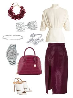 A fashion look from October 2017 featuring white blouse, purple skirt and slingback shoes. Browse and shop related looks. Suzanne Kalan, Brandon Maxwell, Emilia Wickstead, Purple Skirt, Slingback Shoes, Fashion Looks, Rolex, Polyvore, Silver