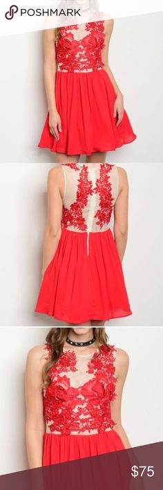 "Boutique crochet mesh floral skater tulle dress Brand new- Boutique item! Scarlet red color with nude mesh top and floral crochet detailing. Really unique and gorgeous! Bust across is approximately 17.5"", waist 16"" (stretches to 18"") and length is 35"". 100% polyester. Dresses Mini"