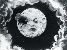 A legendary scene from A Trip to the Moon (Le Voyage dans la lune), a 1902 French B&W silent sci-fi film that based loosely on Jules Verne's From the Earth to the Moon and H.G. Wells' The First Men in the Moon. The film was written and directed by Georges Méliès. Its wide popularity inspires Smashing Pumpkin's music video for their song, Tonight Tonight and a 2011 Martin Scorsese's new film, Hugo.