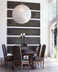 lisa romerein's dining room with oversized pendant light, reclaimed wood slats wall art, louis xv chairs and a wood table Interior And Exterior, Interior Design, Luxury Interior, Modern Interior, Interior Decorating, Decorating Ideas, Decor Ideas, Wood Slats, Wall Treatments