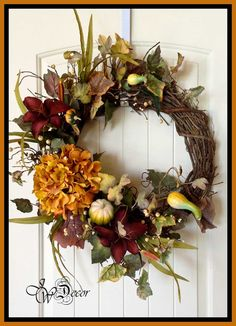 Fall Wreath  Hydrangea Wreath  Large Rustic Grapevine by JWDecor, $69.00