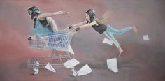 """Print of original painting """"Tearing Up The Sunset Strip"""", girls in shopping trolley and aviation gear. by TaraSpicerArt on Etsy"""