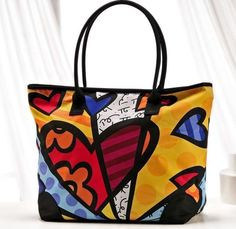 Romero Britto Satin Large Tote Bag Hearts ~ #Heart #Bag