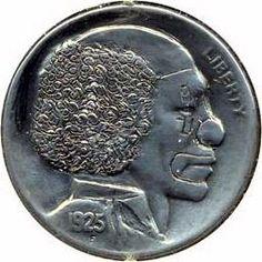 SONNY CARPENTER HOBO NICKEL - CIRCUS CLOWN - 1925 BUFFALO PROFILE Hobo Nickel, Coin Art, Circus Clown, Clowns, Carpenter, Buffalo, Cactus, Zelda, Profile
