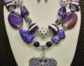 Purple WESTERN COWGIRL STATEMENT Necklace / Cross Pendant Bold Chunky Jewelry - purple faith