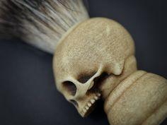 Items similar to Skull Shaving brush - Hand made finest badger Shave Brush with elegant box on Etsy Shaving Brush, Gothic Home Decor, Badger, Wooden Boxes, Great Gifts, Skull, Carving, Hands, Elegant