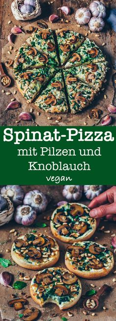 Spinach pizza with mushrooms and garlic (vegan) - Bianca Zapat .- Spinach pizza with mushrooms and garlic (vegan) - Vegan Pizza Recipe, Vegan Dinner Recipes, Delicious Vegan Recipes, Vegan Dinners, Vegetarian Recipes, Pizza Recipes, Veg Recipes, Burger Recipes, Brunch Recipes