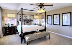 Classic black and white decor with a touch of gray. The Christine model by Richmond American Homes. Elegant Home Decor, Elegant Homes, Model Home Decorating, Decorating Ideas, Decor Ideas, Dream Bedroom, Master Bedroom, Master Suite, Richmond American Homes
