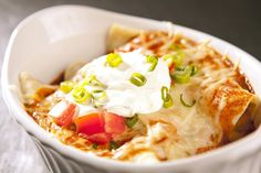 Yukon Gold potatoes are used in this WFC finalist recipe for chorizo, potato and cheese stuffed enchiladas. This and more at Potato Goodness.