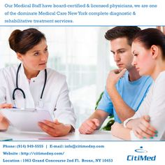The facilities offer complete diagnostic and rehabilitative treatment services.At CitiMedical, we believe in accountability — both from our medical staff in delivering effective rehabilitative care and from our patients in adhering to their individually designed therapy schedules...http://citimedny.com/