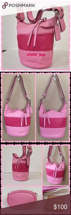 Pink Coach Rugby Bucket Duffle Bag  Pink leather shoulder bag with silver hardware and zip closure. Adjustable strap to wear 3 different ways. Tan lining with 3 pockets. Has small water marks on the side of the bag. See last picture. Still in great used condition! Beautiful bag! Coach Bags Shoulder Bags