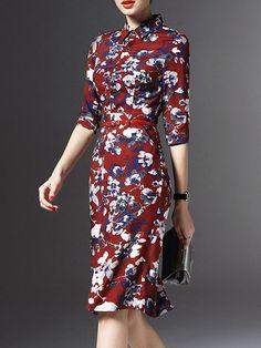 Floral-print Midi Dress with Belt