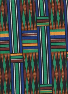 kelly green, cobalt blue, golden khaki, black and warm brown, inspired by Africa.
