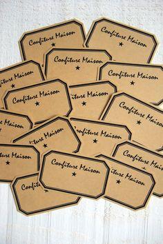 """Lot de 16 étiquettes """"Confiture Maison"""" (kraft adhésif)"""